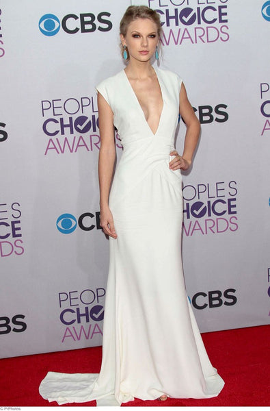 White Taylor Swift Low V Neck Dress Empire Waist Prom Red Carpet People's Choice Awards