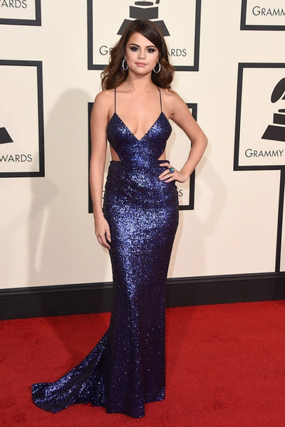 Blue Selena Gomez Straps Cut Outs V Neck Dress Sparkly Sequin Prom Red Carpet Dress Grammys