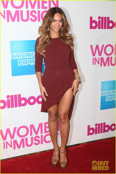 Red Beyonce Knowles High Low knot Prom Red Carpet Formal Dress Billboard Women In Music Luncheon Rust Party Dress