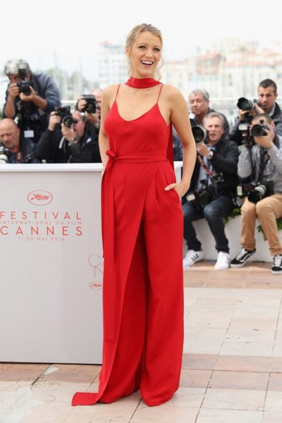 Red Blake Lively Spaghetti Straps Jumpsuit Prom Red Carpet Evening Outfit Celebrity Cannes