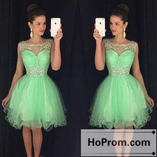 Green Organza Short A-Line Prom Dresses Homecoming Dresses