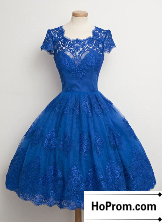 Knee Length Royal Blue Lace Prom Dress Evening Dresses
