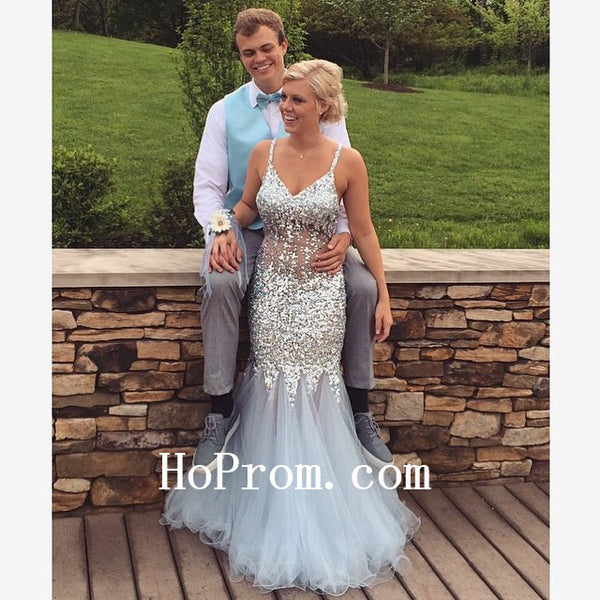 Sequin Grey Prom Dresses,Spaghetti Straps Prom Dress,Evening Dresses