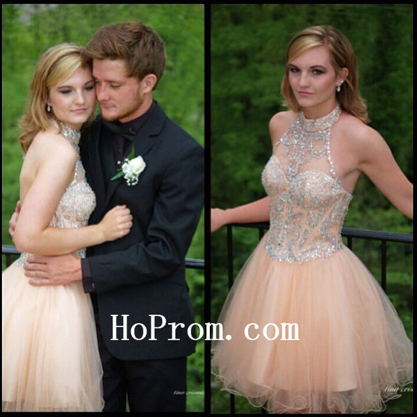 Halter Prom Dresses,Short Prom Dress,Chiffon Evening Dress