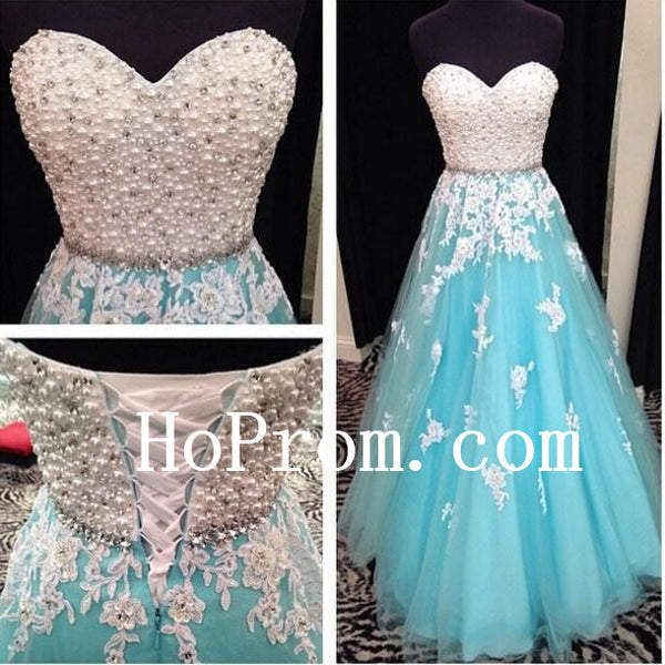 Pearls Beaded Prom Dress,Strapless Prom Dresses,Evening Dress