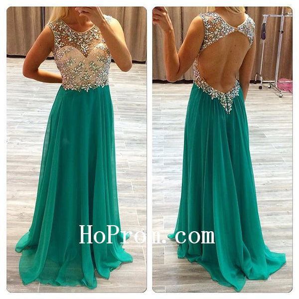 Green Prom Dresses,Backless Prom Dress,Long Evening Dresses