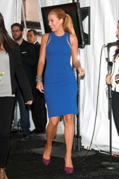 Blue Blake Lively Short Cut Out Round Neck Dress Sheath Prom Celebrity Dress MTV Movie Awards