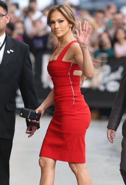 Red Jennifer Lopez (J.Lo) Short Party Dress Knee Length Prom Celebrity Dress 'Jimmy Kimmel' Live