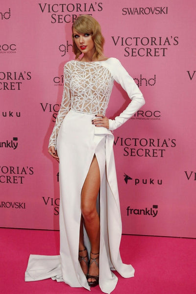 White Taylor Swift Long Sleeves Dress Hollowed out Slit Prom Red Carpet Dress Victoria Secret