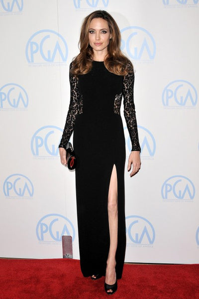 Black Angelina Jolie Lace Prom Long Sleeves Dress Prom Celebrity Evening Red Carpet Dress Producers Guild Awards