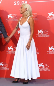 White Lady Gaga Multi Line Back Dress Strap Prom Celebrity Evening Dress 75th Venice Festival