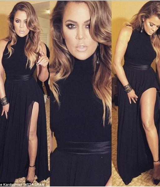 Black Khloe Kardashian Thigh-split Prom Celebrity Dress Formal Gown Golden Globe Awards