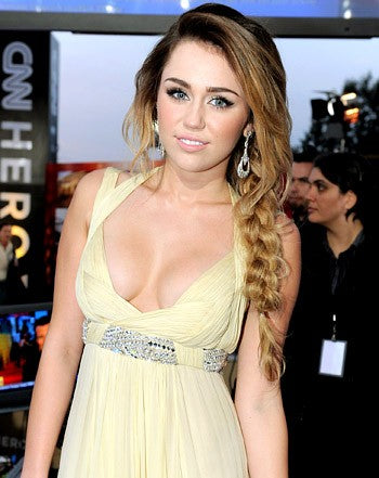 Champagne Miley Cyrus Sequins Belt Long Dress Prom Celebrity Formal Evening Gown Dress CNN Heroes