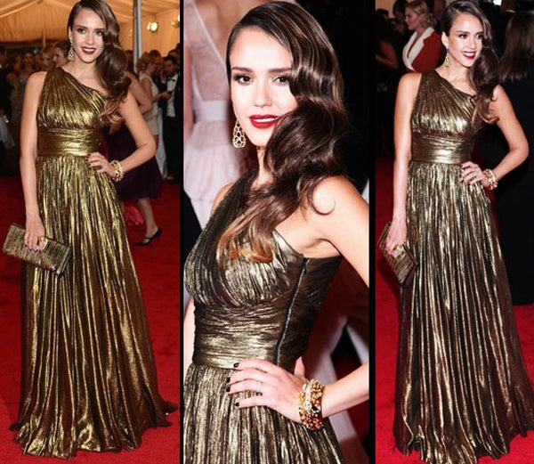 Golden Jessica Alba One Shoulder Sequin Empire Waist Dress Ruched Prom Red Carpet Evening Dress Met Gala