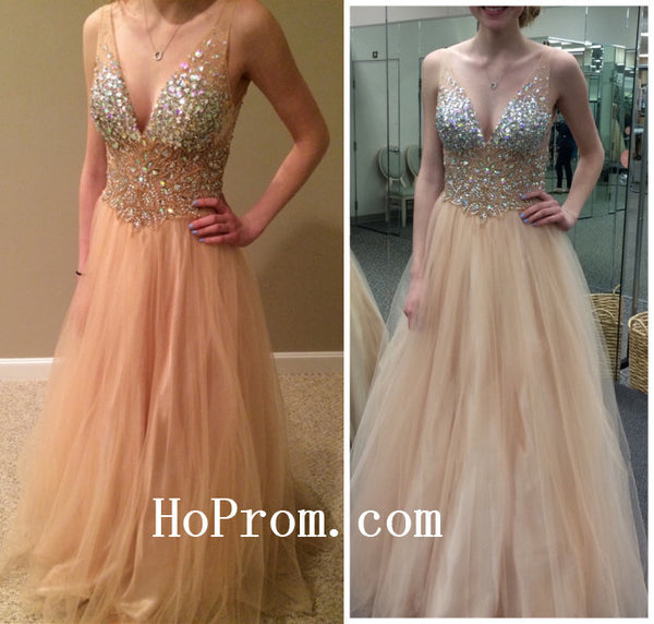 Crystal Prom Dresses,V-Neck Prom Dress,Evening Dress