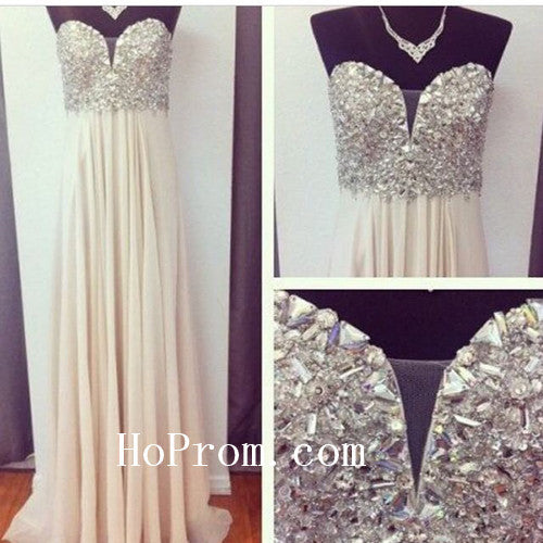 A Line Prom Dresses,Long Prom Dress,Crystal Evening Dresses