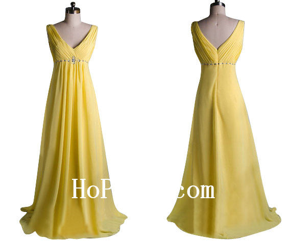 Backless Yellow Prom Dress,V-Neck Prom Dresses,Evening Dress