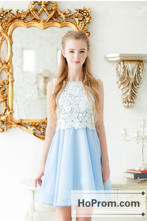Baby Blue Chiffon White Lace Prom Dresses Homecoming Dresses – Hoprom