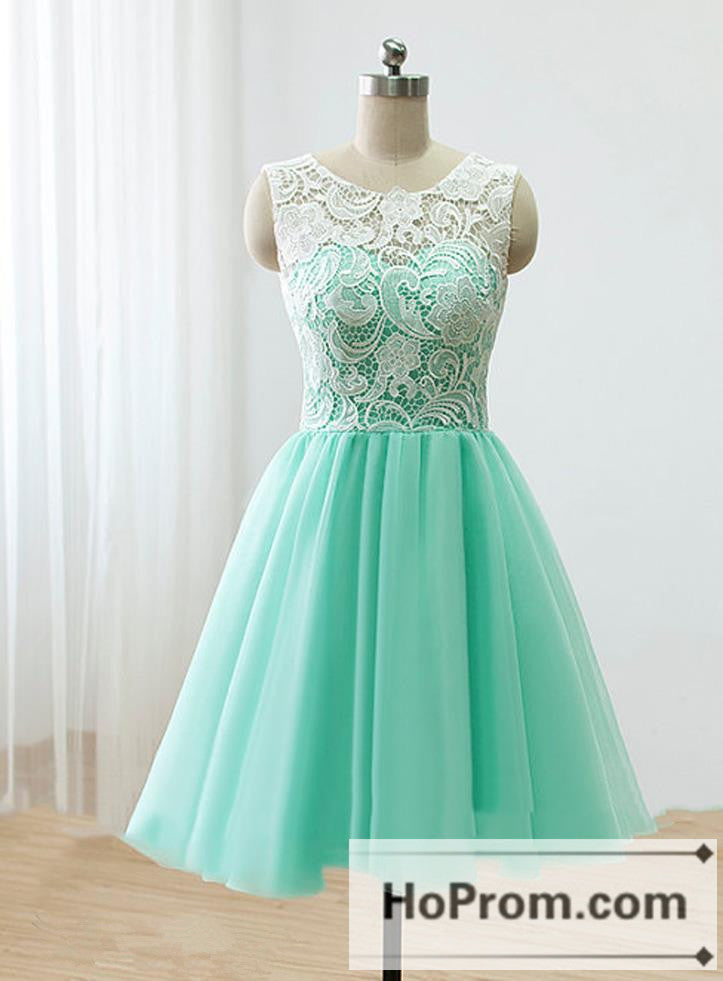 White Lace Mint Tulle Prom Dresses Homecoming Dresses