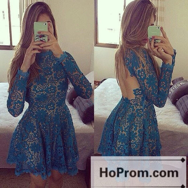 Backless Lace Long Sleeve Short Prom Dresses Homecoming Dresses