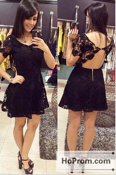 Short Sleeve Black Lace Prom Dresses Homecoming Dresses