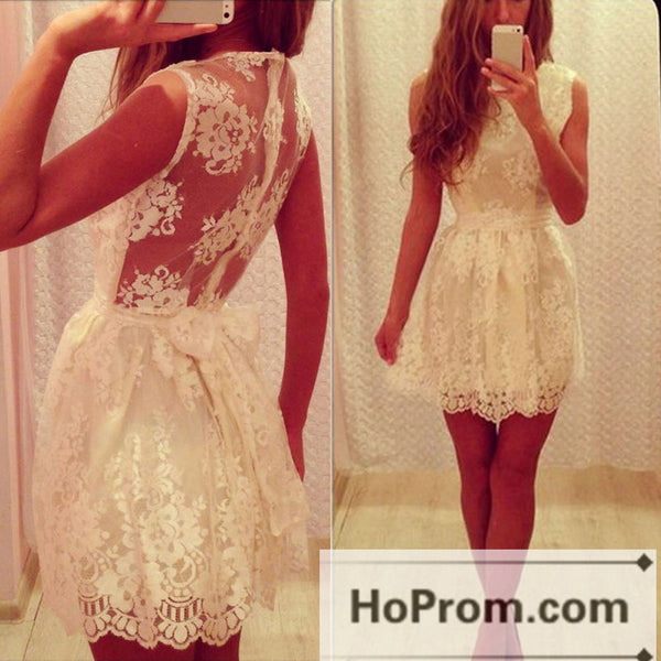 Lovely Cute Lace Short White Prom Dresses Homecoming Dresses