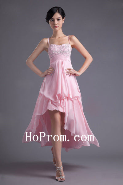 Hi-Lo Prom Dress,Spaghetti Straps Prom Dresses,Evening Dress