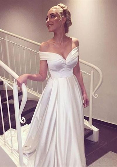 Off the Shoulder White Satin Court Train Bridal Wedding Dress