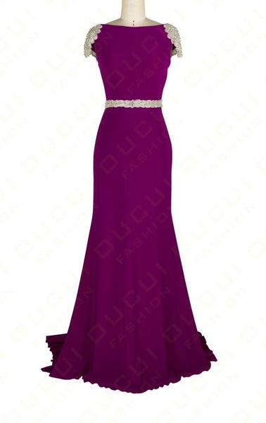 Beading Purple Prom Dresses,Sheath Prom Dress,Evening Dress