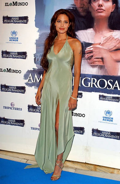Green Angelina Jolie Sage Halter Slit Dress Prom Evening Celebrity Red Carpet Dress 'Beyond Borders' Premiere