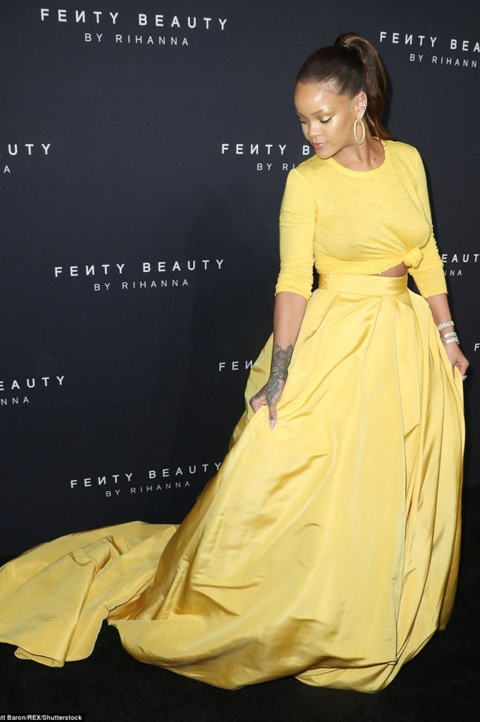 Yellow Rihanna Two piece Dress Long sleeves prom Celebrity Red Carpet Evening Dress Fenty Beauty Launch