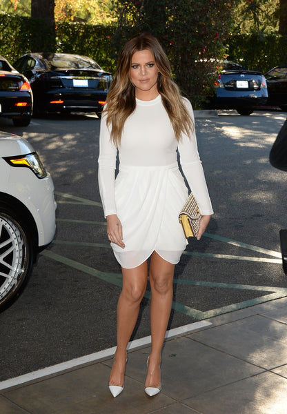 White Khloe Kardashian Short Long Sleeve Prom Celebrity Evening Dress The Hollywood Reporter's 22nd Annual