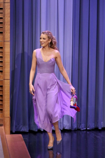 Lilac Blake Lively One shoulder Prom Celebrity Dress Tonight Show with Jimmy Fallon
