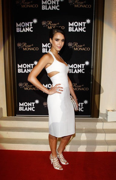 White Jessica Alba Cut Out Dress Sheath Prom Red Carpet Formal Dress Montblanc International Gala