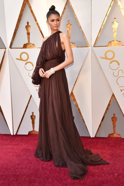 Chocolate Brown Zendaya Coleman One Shoulder One Sleeve Dress Pleated Prom Red Carpet Formal Dress Academy Awards (Oscars) For Sale