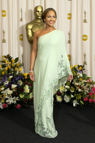 Green Jennifer Lopez (J.Lo) One shoulder Dress Asymmetrical Prom Celebrity Red Carpet Dress Oscars