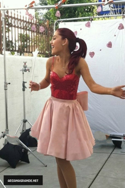 Red Pink Ariana Grande Cute Short A-Line Dress Spaghetti Straps Prom Celebrity Evening Party Cocktail dress