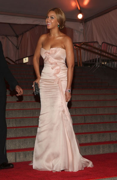 Pale Pink Beyonce Knowles Strapless Chiffon Flare Dress Gown Prom Red Carpet Evening Dress Met Gala