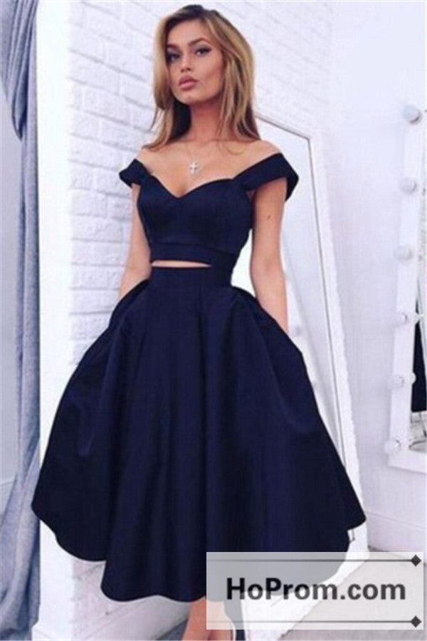 Off Shoulder Two Piece A-Line Prom Dresses Homecoming Dresses