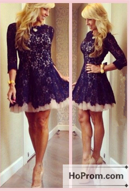 Black Lace Short A-Line Prom Dresses Homecoming Dresses