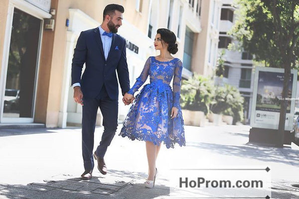 Royal Blue Knee Length Lace Prom Dresses Homecoming Dresses