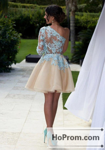 One Shoulder Blue Lace Prom Dresses Homecoming Dresses