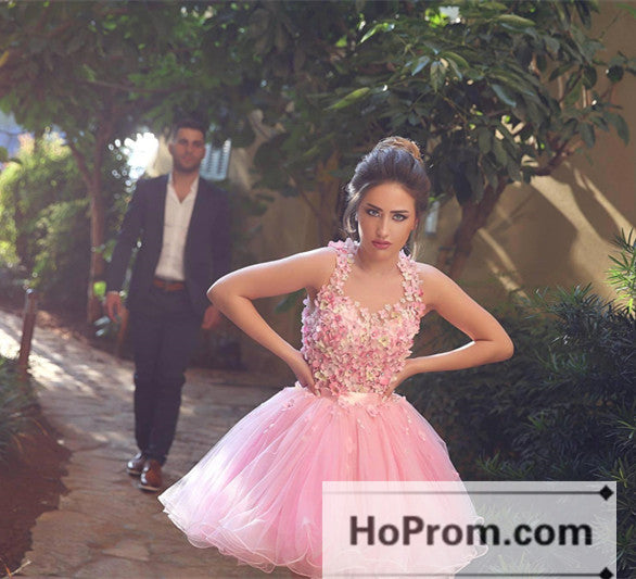 Sweet Pink Short Applique Mini Prom Dresses Homecoming Dresses