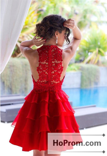 Short Layers Red Lace Prom Dresses Homecoming Dresses