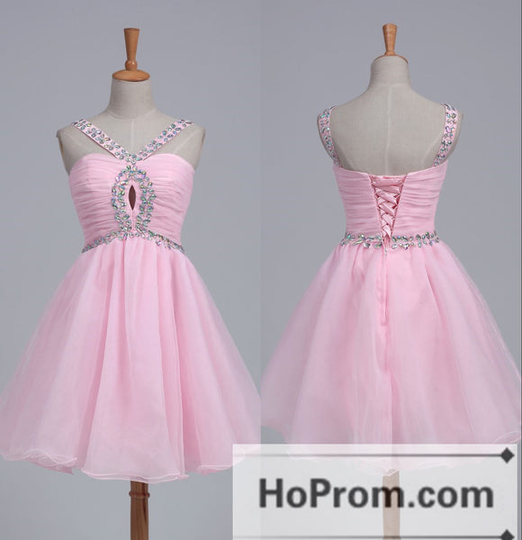 Pink Organza Luxury Crystal Prom Dresses Homecoming Dresses