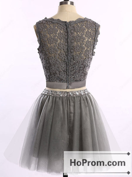 Sleeveless Grey Tulle Short Prom Dresses Homecoming Dresses