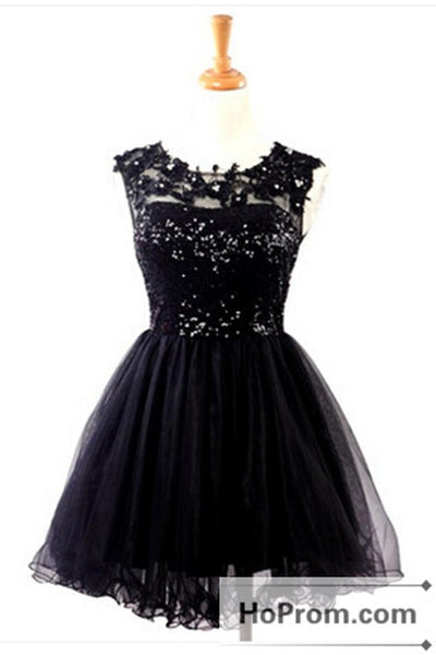 Sleeveless Short Black Mini Prom Dresses Homecoming Dresses