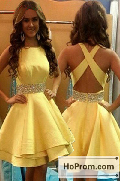 Cross Back Yellow Satin Short Prom Dresses Homecoming Dresses