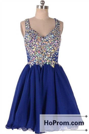 Straps Crystal Mini V-Neck Prom Dresses Homecoming Dresses