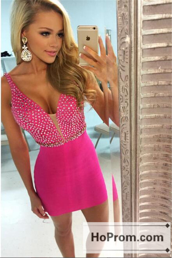 Straps Hot Pink Tight Short Prom Dresses Homecoming Dresses